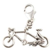 Tandem Bicycle / Bike 3D Sterling Silver Clip On Charm - With Clasp